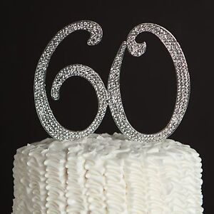 Image Is Loading 60 Silver Rhinestone Cake Topper Sixty 60th Birthday
