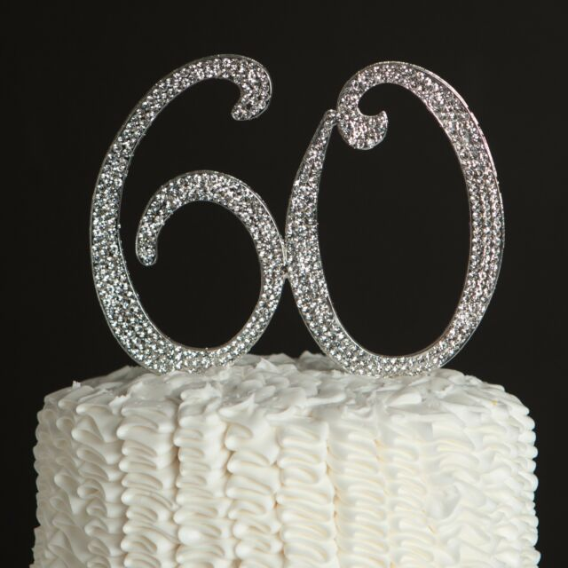 60 Cake Topper 60th Birthday Or Anniversary Silver Party Supplies Decor Ideas