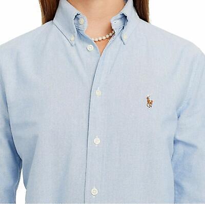 Polo Ralph Lauren Women's Custom-Fit Cotton Washed Oxford Shirt (X-Small, Blue) | eBay