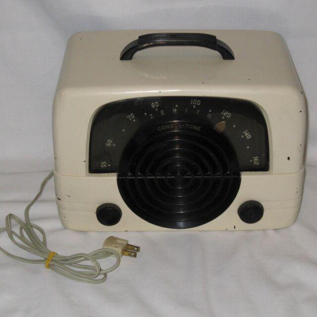 Vintage 1940's Zenith Console Tone 6D614W Tube Radio Bakelite Ivory Color Table