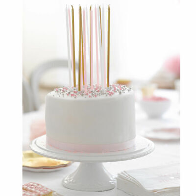 Fabulous Gold Pink White Birthday Candles Extra Long Party Cake Candles Personalised Birthday Cards Akebfashionlily Jamesorg