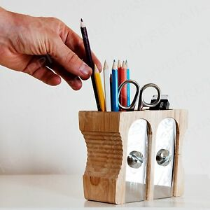 Light wood double pencil sharpener desk tidy stationery storage box office wood ebay - Pencil sharpener desk tidy ...