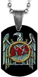 SLAYER Eagle Logo Mini Dog Tag Necklace Metal Balls Chain Rock Merchandise