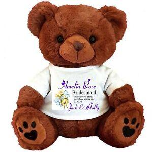 "PERSONALISED TEDDY BEAR BROWN 25CM/10"" SITTING BRIDESMAID FLOWER GIRL  WEDDING"