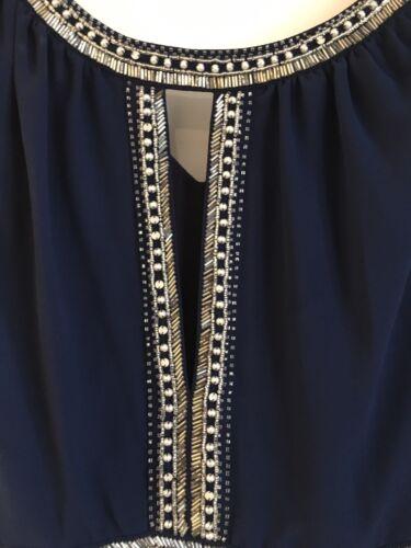 corto pieghe ricamato Tfnc argento scuro senza Frontslit medio maniche a vestito blu 771OgSwq