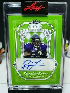 2021 Leaf Signature The National Series 1of1 RAY LEWIS Autograph GREEN 1/1 AUTO