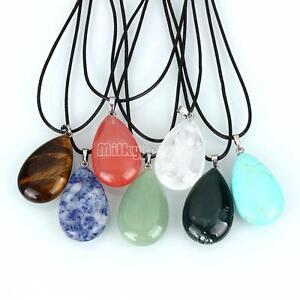 Natural-Quartz-Crystal-Stone-Chakra-Teardrop-Gemstone-Pendant-Chain-Necklace-hot