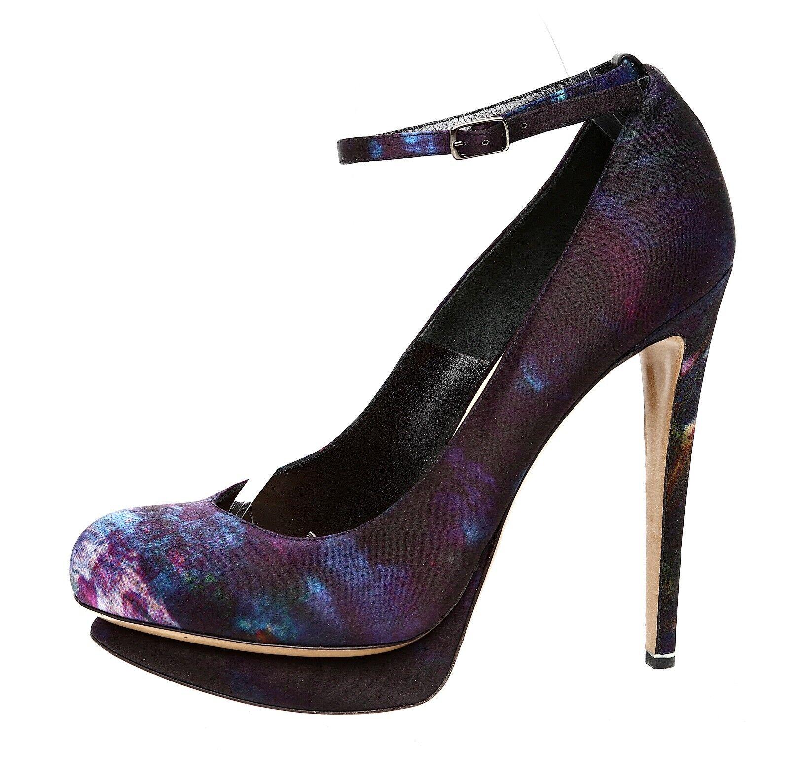 Nicholas Kirkwood Erdem Ankle Strap Floral Satin Pump Purple Women Sz 39 4504