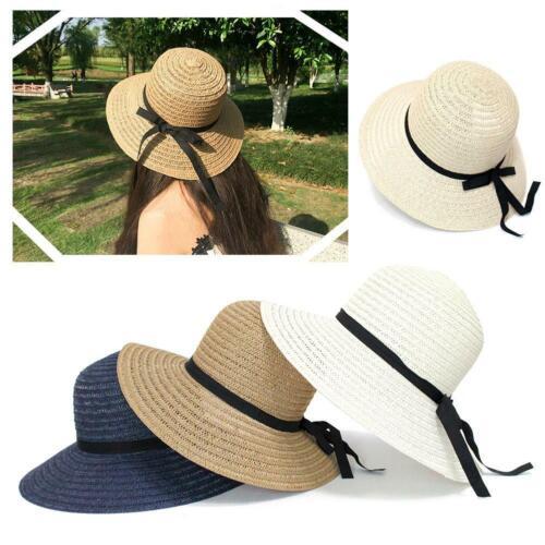 Hot Women/'s Straw Hat floppy Elegant Summer Bohemia NEW Beach Wide V2Y9 R7Z0
