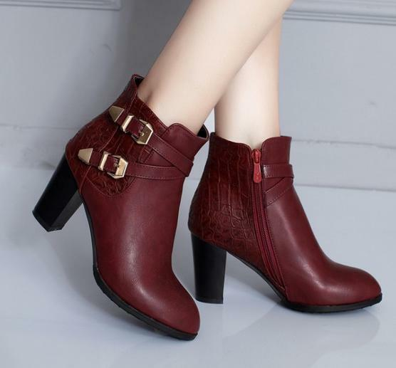 Women's Lady Buckle Side Zip Ankle Boots Leather Block heels Combat casual Shoes