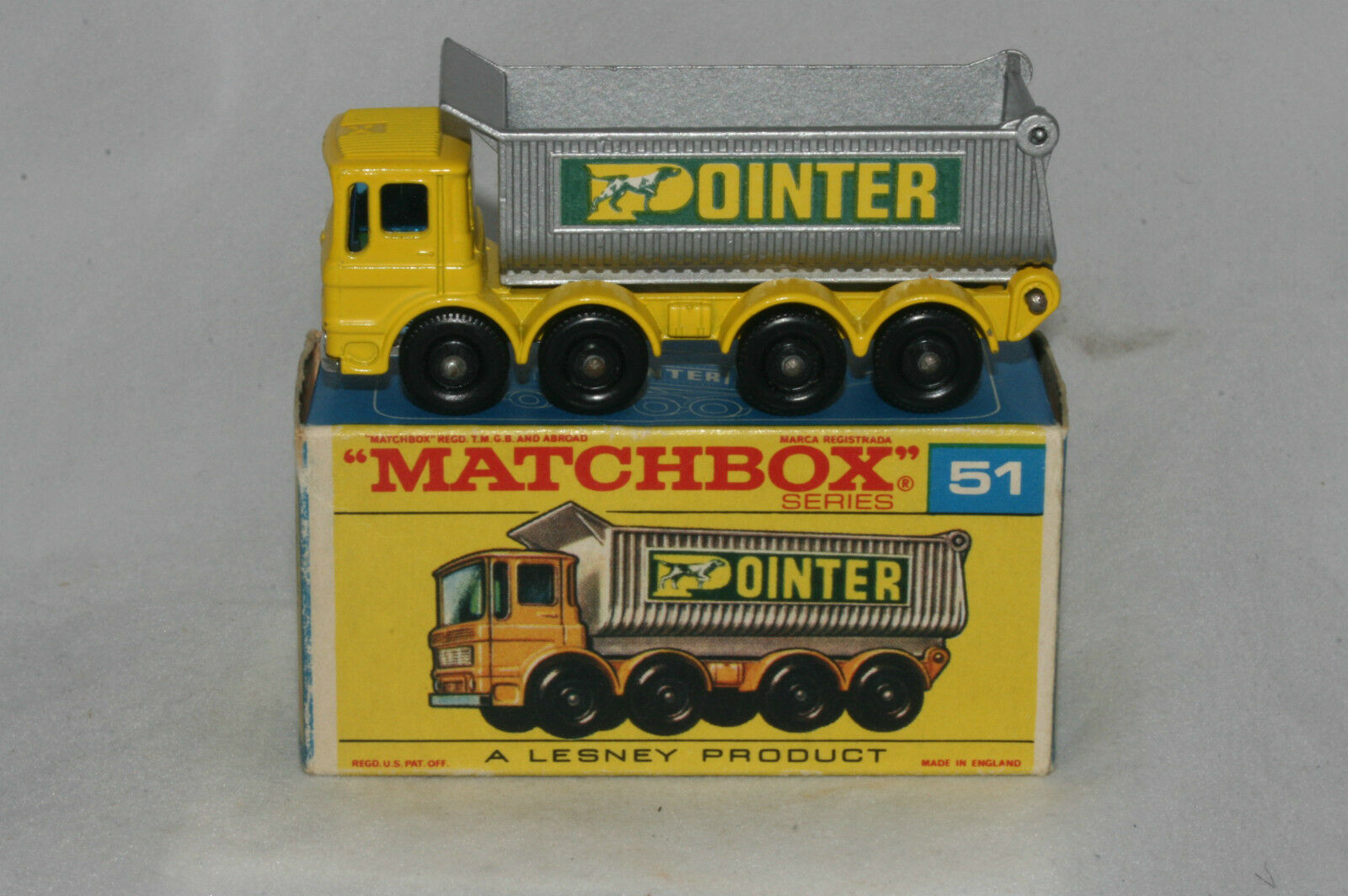 Matchbox C 8-Wheel Tipper, Yellow,  Pointer , Nice, Boxed Type F