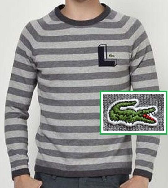 NWT Lacoste Cotton Sriped Sweater Pullover Größe XXL