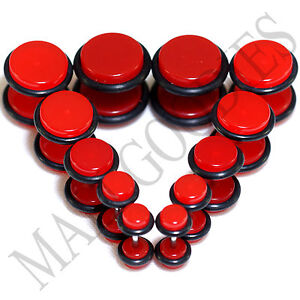 V109-Fake-Cheaters-Illusion-Faux-Ear-Plugs-4G-2G-0G-00G-7-16-034-1-2-Red-Neon-Blood
