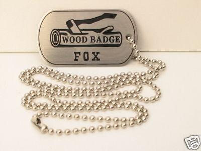 WOOD BADGE FOX DOG TAG WOODBADGE