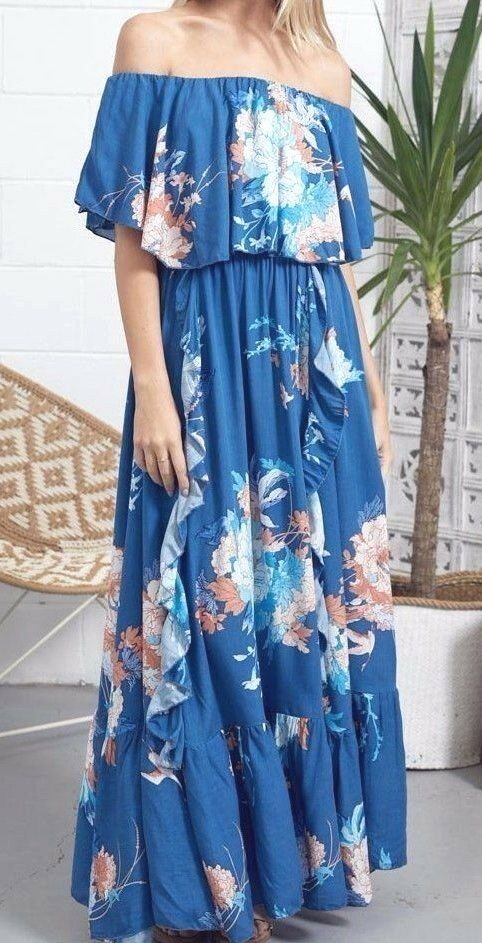 JAASE  OFF SHOULDER TEAL GREEN FLORAL PRINT CARNIVAL MAXI DRESS M BN