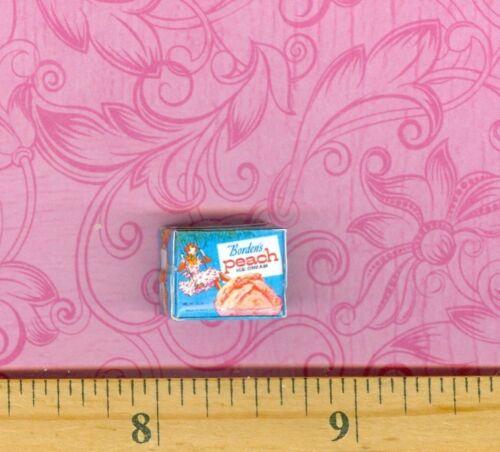 DOLLHOUSE MINIATURES  Size Vintage Peach Ice Cream Box