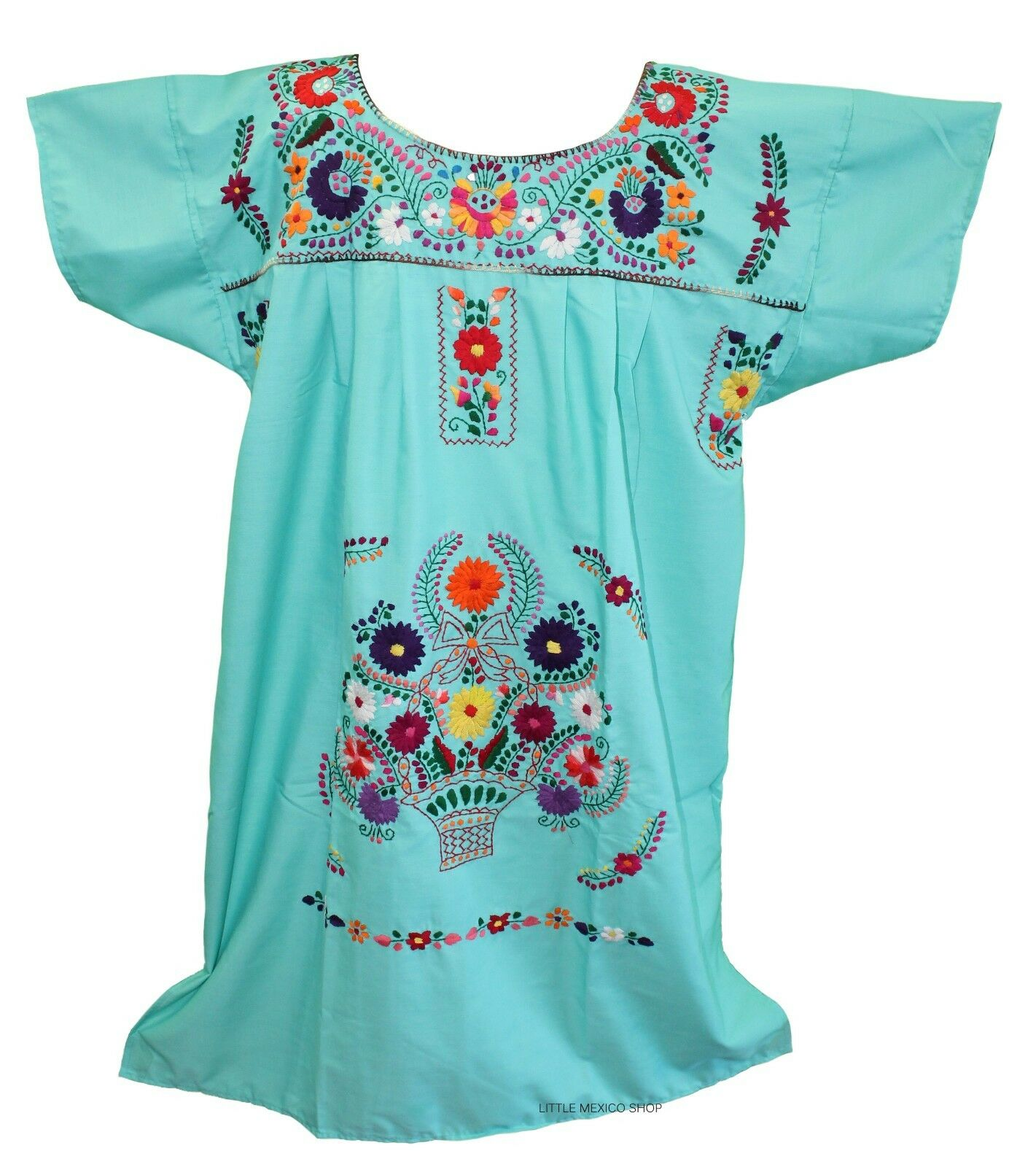 3XL Mexican Dress SPRING TEAL Hand Embroidered Embroidered Embroidered Puebla Pueblo Unique 203 974ff1
