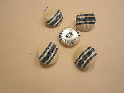 Tissu boutons recouverts-rayures bleu sur beige sur métal 2cm shell