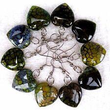5Pair Handmade Yellow and Black Dragon Veins Agate Peach Heart Earrings AE283