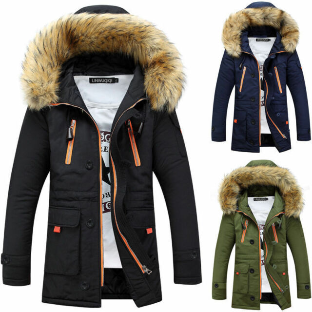 c52be9f240 Men's Warm Down Cotton Jacket Fur Collar Thick Winter Hooded Coat Outwear  Parka