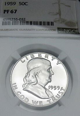 NGC PF68 1959 US Franklin Silver Half Dollar Proof 50C