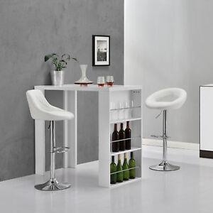 Detalles de [en.casa]® Mesa alta blanca Barra de bar Muebles altos cocina  Almacenamiento