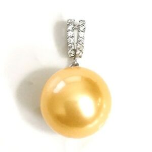 14 mm golden south sea pearl diamond pendant charm white gold image is loading 14 mm golden south sea pearl diamond pendant aloadofball Image collections