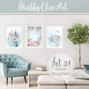Aquarell-Fine-Art-Print-Shabby-Chic-Landhaus-Bilder-Set-Blumen-Druck-DIN-A4-S24