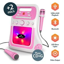 Kids Karaoke Machine CDG Bluetooth MP3 USB Twin Mics Flashing Lights Childrens
