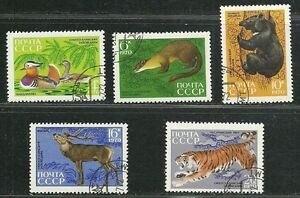 Russia-USSR-CCCP-1970-Very-Fine-Precancel-Hinged-Stamps-Set-034-Animals-amp-Birds-034
