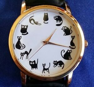 CATS-Wristwatch-Fashion-Lucky-Black-Kitty-Funny-Cartoon-Gold-Women-039-s-Men-039-s-Gift