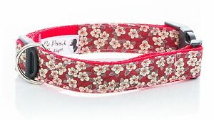 Liberty-Red-Fifi-Floral-Handmade-Puppy-Dog-Collar-OR-Lead-Choice-of-sizes