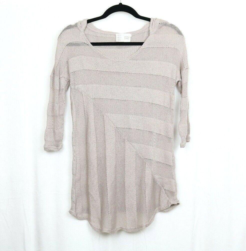 Anthropologie Saturday Sunday Neya Womens Sweater X-Small Striped Hood Thin Knit