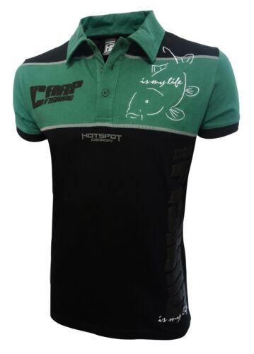 HOTSPOT DESIGN Carpfishing Eco 2.0 Polo Hemd Für Karpfenangler schwarz-grün