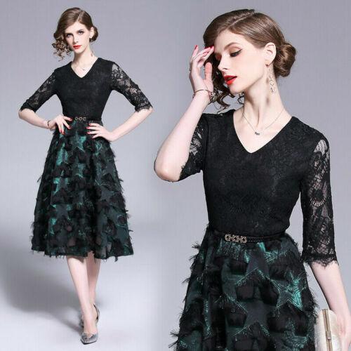 Summer women/'s fashion V-neck lace hollow out high waist A-line Dress