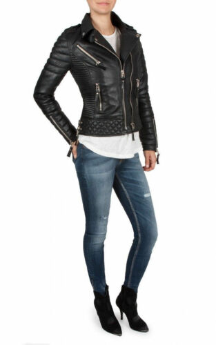 Classique Moto Fashion En Dames Souple Rétro King Veste Biker Leo Femmes Cuir 6byIYfm7gv