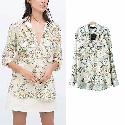 New Womens Ladies White Floral Print Long Sleeve Lapel Pockets Shirt Blouse Tops