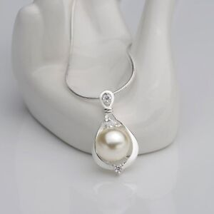 925-Silver-Crystals-Pearl-Pendant-Necklace-Chain-Women-Elegant-Wedding-Jewelry
