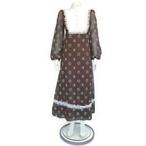 Vintage-1970s-MISS-LIBERTY-Applique-Prairie-Maxi-Dress-Brown-White-Lace-4739