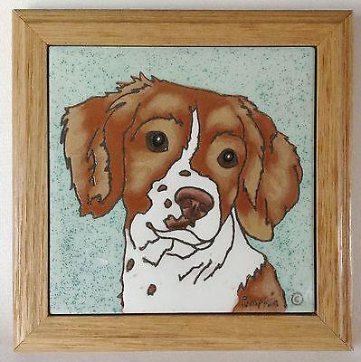 Framed SPRINGER SPANIEL Dog Tile Trivet by Pumpkin made in NM~ Hand-Glazed
