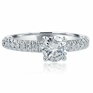 Classic-Solitaire-1-10Ct-Round-Diamond-Engagement-Ring-Micropave-14k-White-Gold