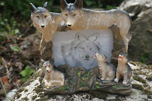 Mo0234 Figurine Statuette Famille Cadre Loup Louve Animal Sauvage Yvxkd23o-07230534-563061343