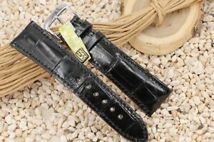 Lederband-22mm-Uhr-Armbanduhr-Krokodil-Leder-gepolstert-schwarz-mit-Dornschliesse