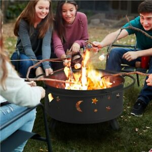 30 Inch Outdoor Fire Pit Stars Moons Firepits Round Fire Bowl Wood Burning Black