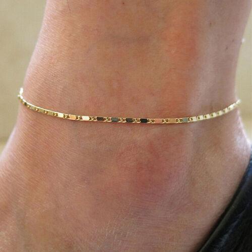 Simple chaîne de cheville bracelet en or chaussure pieds nus sandales Beach I