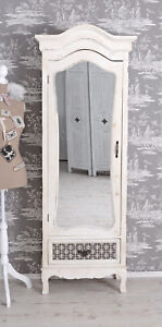 Wardrobe-Shabby-Linen-Closet-White-Mirror-Cabinet-Antique-Hallway-Cupboard-New