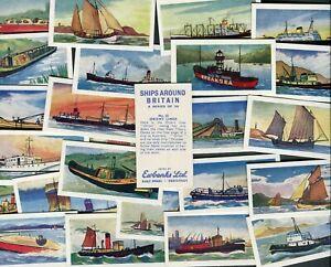"EWBANKS 1961 SET OF 25 ""SHIPS AROUND BRITAIN"" TRADE CARDS"