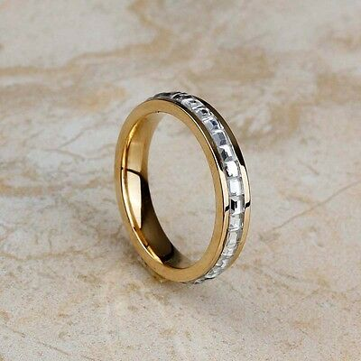 Women's Stainless Steel Fashion 18K Gold Plated Crystal Stone Band Wedding Rings