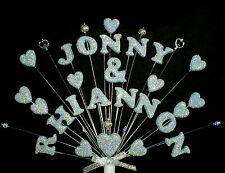 Personalised double name, beads and crystals  Engagement or Wedding Cake Topper.