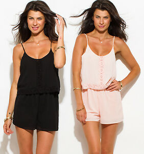 new arrivals best price pretty cheap Details about San Julian Cute Summer Rompers - Black, Pink, S,M,L